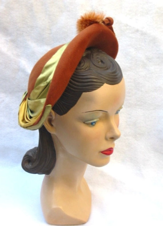 40's 50's Vintage Hat with Ribbons and Feather Pom Poms Cecile Kenosha