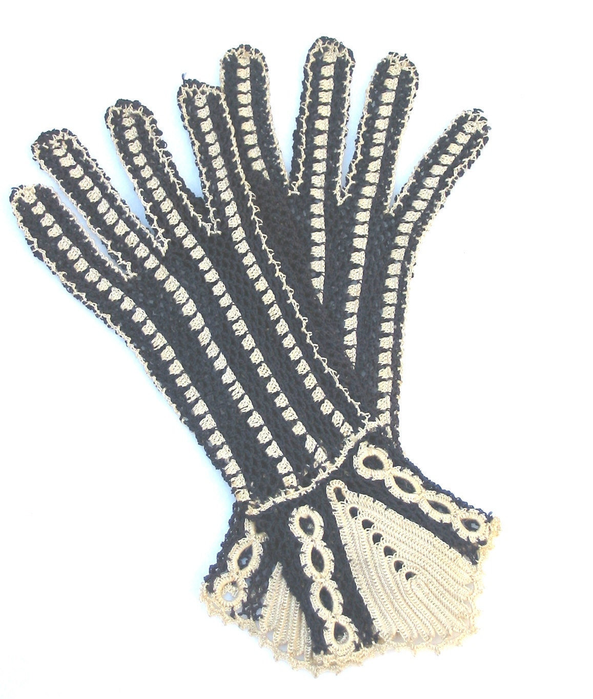 1930 39 s vintage art deco crochet gloves. Black Bedroom Furniture Sets. Home Design Ideas