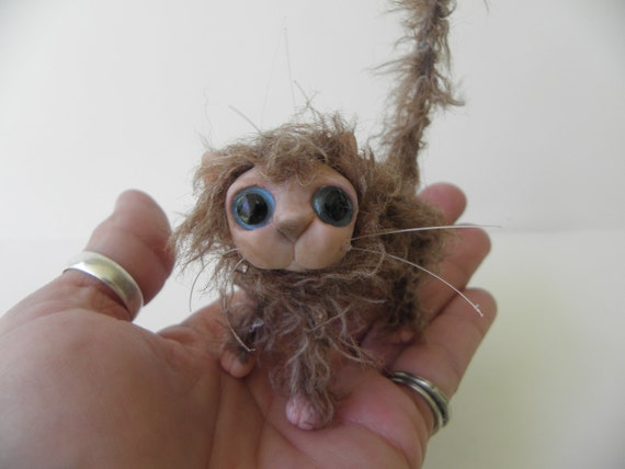 Tiny BROWN scruffy alley KITTY CAT kitten fairy monster high accessory by DinkyDarlings ( 06)