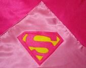 Superhero SUPER GIRL baby or childrens blanket REVERSIBLE
