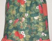 Adult half apron with winter cardinal print