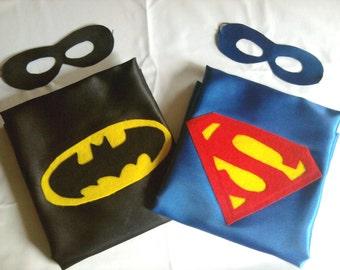 Super hero cape - REVERSIBLE Batman and Superman WITH REVERSIBLE mask