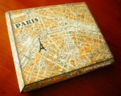 ARTWORK. Paris Map on Wooden Box. Map Art Made from 100 Percent Recycled Materials