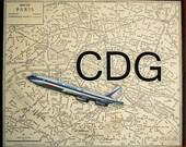 ARTWORK. Up in the Air Series. CDG. Charles de Gaulles Airport, Paris, France. MapArt