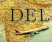 ARTWORK. Up in the Air Series. DEL. Delhi Airport, India. MapArt using a 1906 map