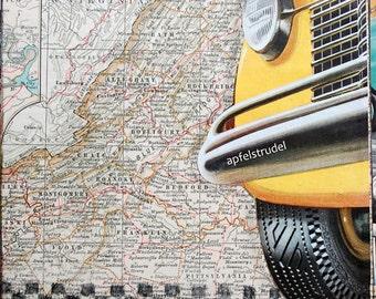 ARTWORK using 1897 Map of Virginia. Big Yellow Taxi MapArt