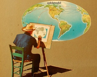 ARTWORK. World Portrait. MapArt Made Using a 1935 map.