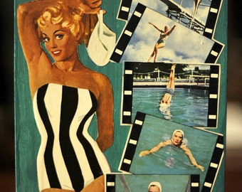 ARTWORK Using Recycled Materials. Sixties Summer in Stark Stripe Swimsuit MapArt