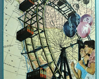 Map art Collage Art 1898 Map North America Ferris Wheel Carnival Fair Summer