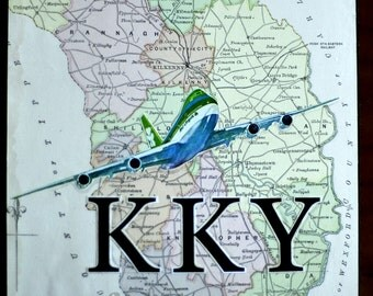 ARTWORK. Up in the Air Series. KKY. Kilkenny Airport, Ireland. MapArt using an 1879 Map
