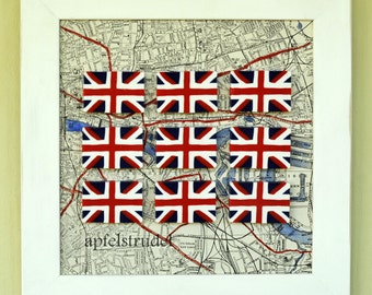 ARTWORK. London Calling. Framed 3D MapArt using a 1942 Map of London