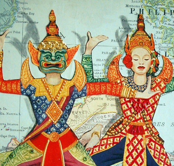 ARTWORK. Wooden Block Collage Map Art of Malaysia \/ Sumatra \/ Java \/ Indonesia