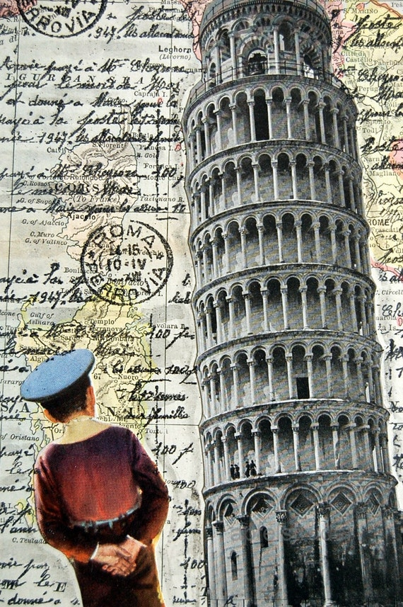 ARTWORK. The Leaning Boy of Pisa. Wooden Block MapArt using an 1898 map of Italy. (reserved)