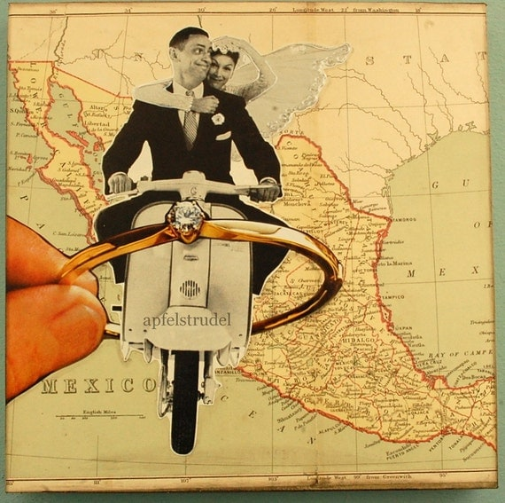 ARTWORK. MapArt of Mexico Made Using an 1878 map. A Wedding in Mexico.