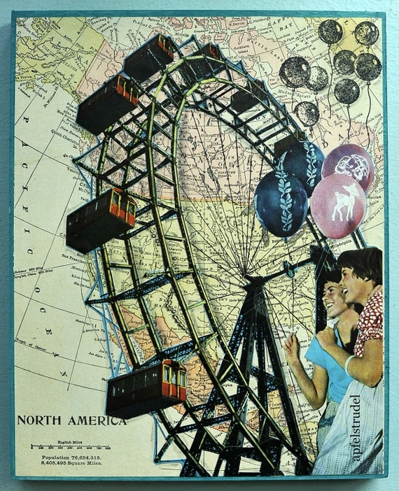 Map art Collage Art 1898 Map North America Ferris Wheel Carnival Fair Summer