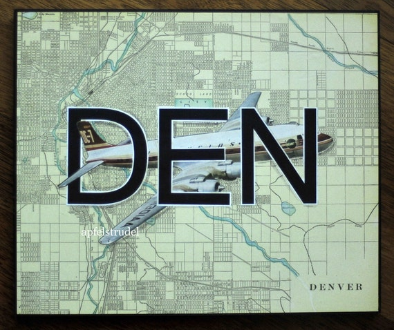ARTWORK. Up in the Air Series. DEN. Denver International Airport, Colorado. Wooden Block MapArt using an 1899 Map of Denver