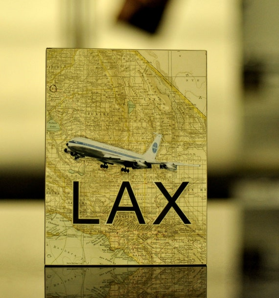 ARTWORK. Up in the Air Series. LAX. Los Angeles International Airport, California. Wooden Block MapArt using a 1902 map