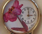 Watch with Hot Pink Zinnia