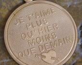 Brass French Charms Je T'aime Plus Qu'Heir Mons Que Demain  26mm Large 1067 - 6 PCS