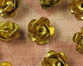 Brass Rose Flower No Ring Jewelry Finding 630 - 6 Pieces