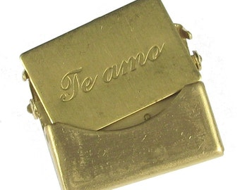 3 Sets Small Raw Brass Te amo I Love you Letter Envelope Finding 746S