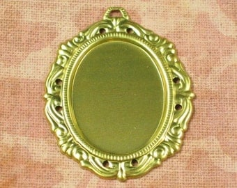 6 Raw Bare Naked Brass Cameo Setting 25x18 Jewelry Findings 181