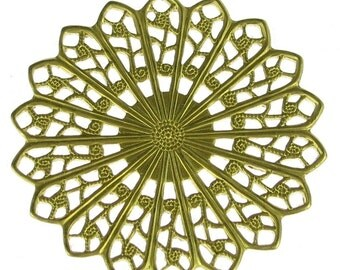 Raw Brass Filigree Findings Round 155 - 6 pieces