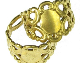 Adjustable Brass Filigree Jewelry Finger Ring Blank 916 - 6 pieces