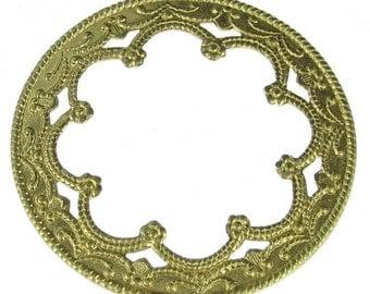 6 Brass Round Renaissance Jewelry Findings 321