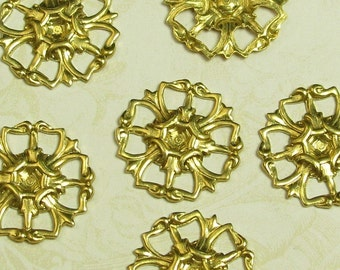 Brass Connector for Round Point Back Rhinestones Jewelry Finding 739 - 6 Pieces