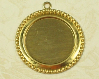 Round Brass Cameo Setting 18mm Round Jewelry Findings 708 - 12 Pieces