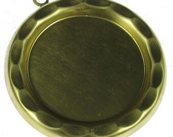 Round Brass Cameo Setting 35mm Round Jewelry Findings 711 - 6 Pieces
