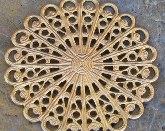 Raw Brass Filigree Findings Round 568 - 6 pieces