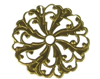 6 Raw Brass Round Filigree Jewelry Findings 327