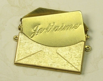 Brass Textured Envelope Je t'aime Message Insert I Love you Letter Insert 745TJ - 24 pieces