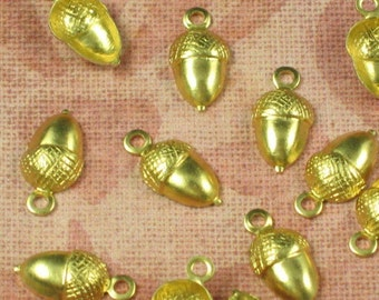 12 Raw Bare Naked Brass Small Acorn Charm Jewelry Finding 685