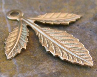 6 Raw Bare Naked Brass Leaf Charm Drop Botanical Jewelry Finding 1147