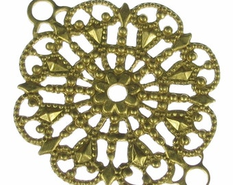Round Brass Filigree 2 Rings Jewelry Findings 1021 - 6 pcs