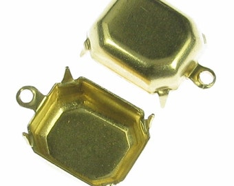 Brass Octagon 12 x 10 mm  Setting 1 Ring Charm 998 - 12 Pieces