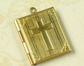 1 Pcs Raw Bare Brass Cross Book Lockets Charms Pendants 771