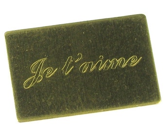 6 Small Raw Brass JE T'AIME Letters Only 746IJ