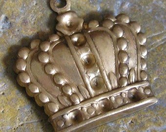 6 Raw Brass Crown with Recessed Area for Rhinestones 1210