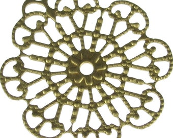 Filigree Round Brass 1 Ring Connection Jewelry Findings 1022 - 6 pcs