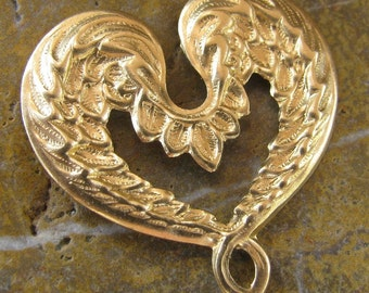 6 Raw Bare Naked Brass Winged Heart Metal Findings 426