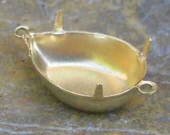 Pear Rhinestone Setting 18x13 Raw Brass 2 Rings 925 - 12 Pieces