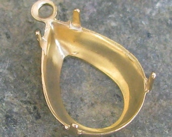 Pear Brass Prong Setting 14x10 with 1 Ring 1326 - 12 Pieces