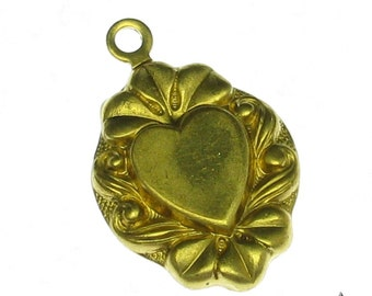 6 Raw Bare Brass Heart Charm With Glue Pad 856