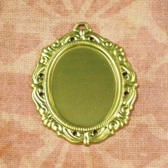 Oval Brass Flat Back Stone Cameo or Cabochon Setting 25x18 Jewelry Findings 181 - 6 pieces