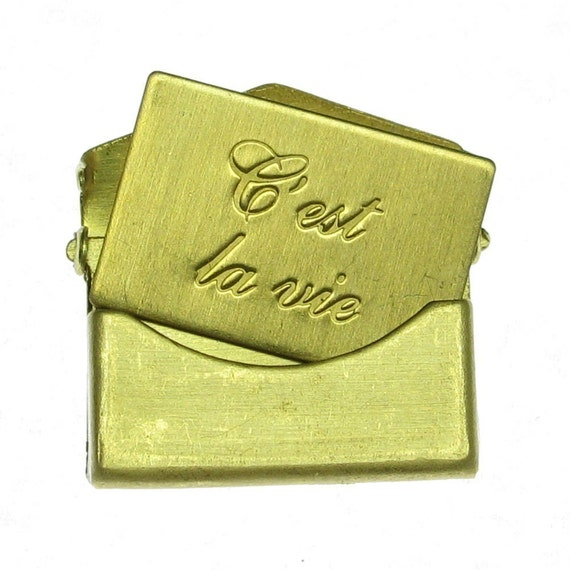 3 Sets Small Raw Bare Naked Brass C'est La Vie Letter Envelope Finding 746C