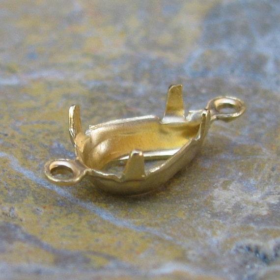 Pear Pronged Rhinestone or Gem Stone Setting 10 x  6 Raw Brass  1092 - 12 Pieces